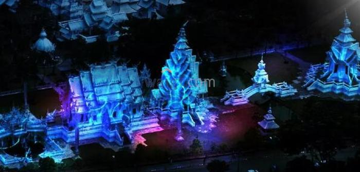 哇哦!泰国清莱白庙魔幻灯光大秀开场啦!
